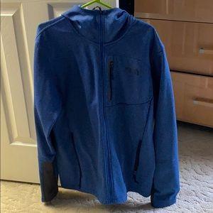 Blue north face zip up hoodie